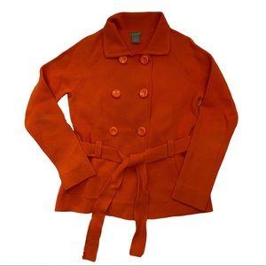 Ann Taylor Orange Cotton Belted Sweater Jacket